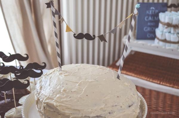 mustache baby shower cake, cake bunting, mustache cake bunting, simple cake bunting, baby shower cake,