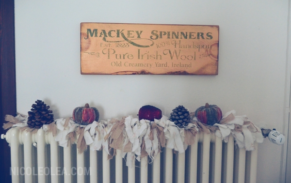vintage irish sign, radiator cover, fall decor