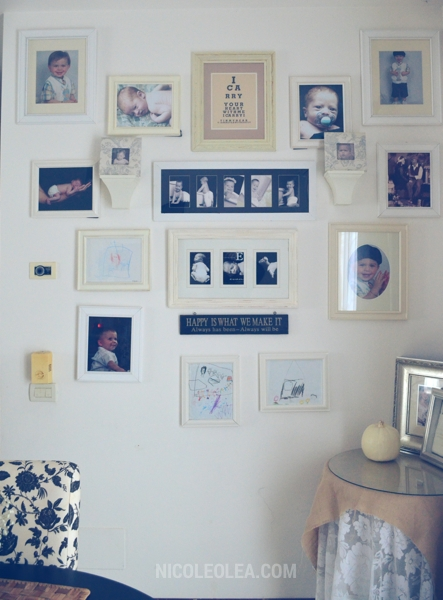 gallery wall, white frames, cottage decor,