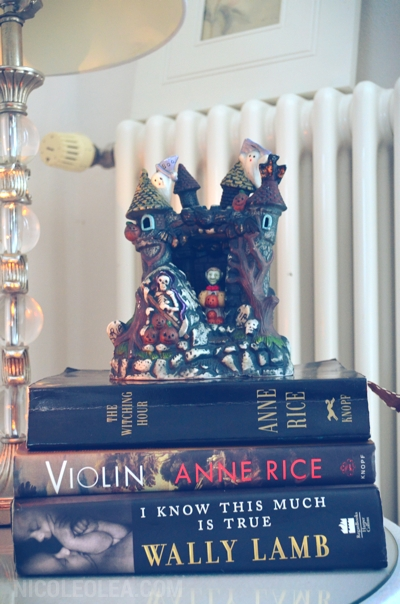 haunted house, scary books, anne rice violin, using books to decorate