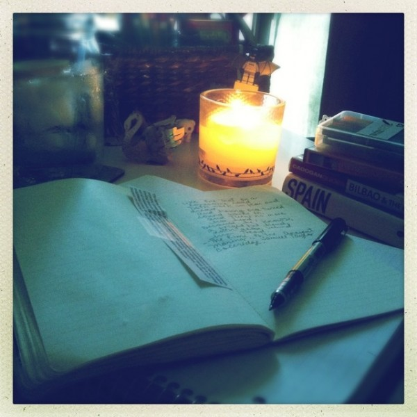 journaling, candle light, writing by candlelight,