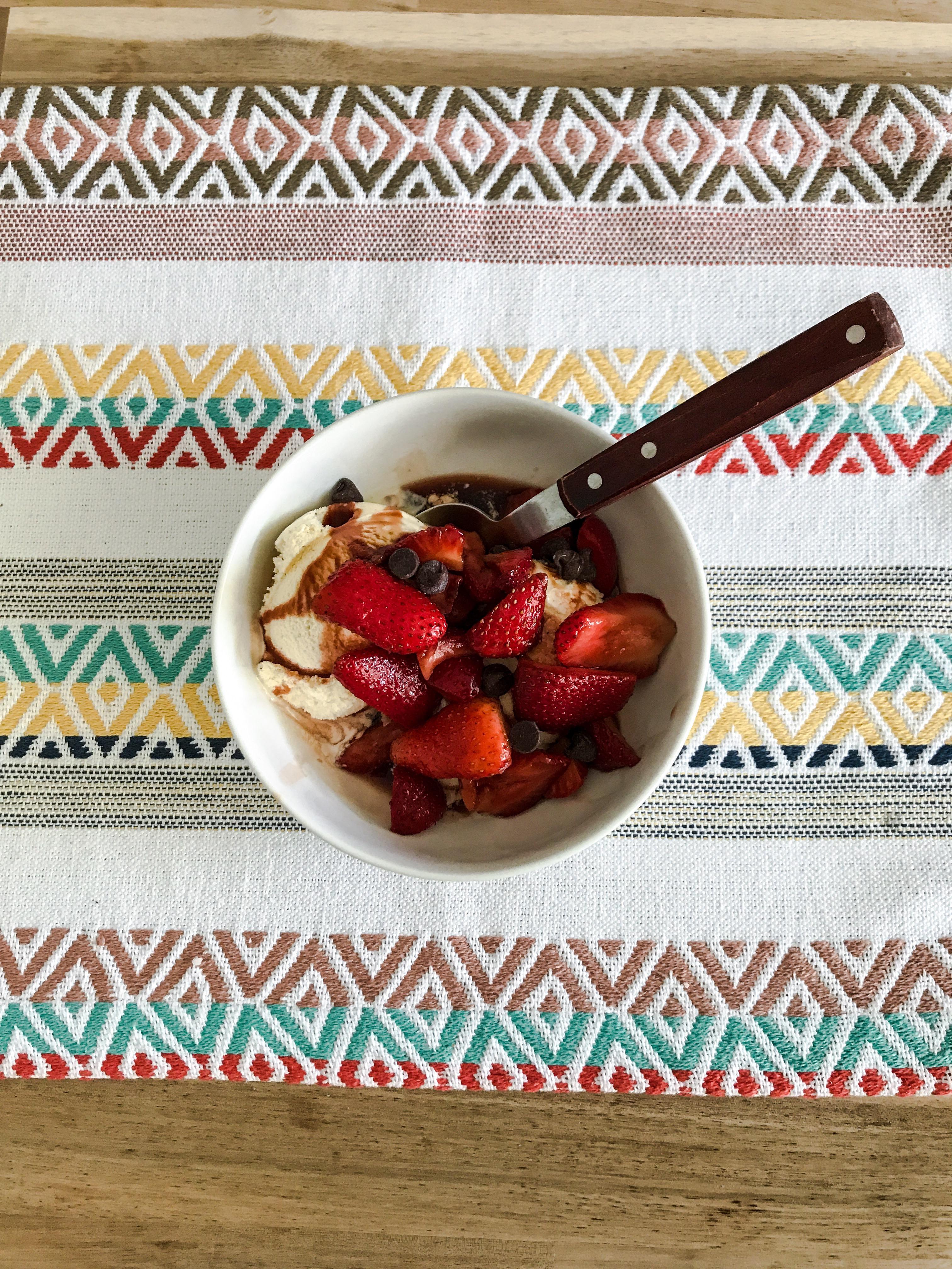 Balsamic Vinegar Strawberries over gelato